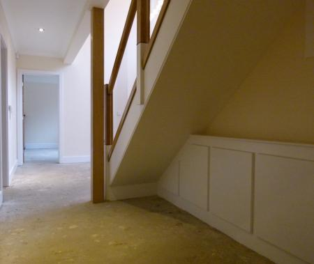 New staircase with glass and oak ballustrade